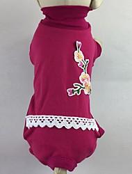 Gato Perro Camiseta Mono Pijamas Pantalones Ropa para Perro Casual/Diario Flores / Botánica Rosa Verde