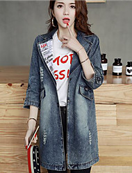 Women's Casual Casual Spring/Fall Denim Jacket,Solid Print Stand Long Sleeve Long Cotton