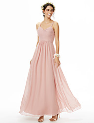 A-Line Spaghetti Straps Floor Length Chiffon Bridesmaid Dress with Ruching Pleats by LAN TING BRIDE®