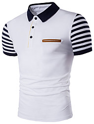Men's Party Going out Casual/Daily Sexy Simple Street chic Polo,Color Block Shirt Collar Short Sleeve Cotton Polyester