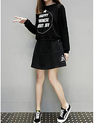 Women's Casual/Daily Little Black Dress,Letter Round Neck Above Knee Long Sleeve Linen Spring Fall Mid Rise Inelastic Medium