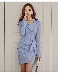 Damen Bodycon Kleid-Ausgehen Lässig/Alltäglich Arbeit Niedlich Street Schick Gestreift V-Ausschnitt Übers Knie Langarm PolyesterAlle