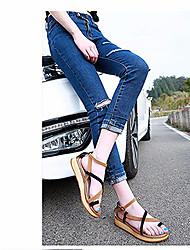Damen Flache Schuhe Komfort Leuchtende Sohlen PU Sommer Normal Komfort Leuchtende Sohlen Schwarz Burgund Flach