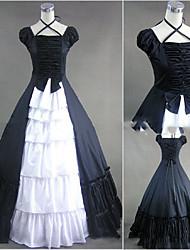 Una Sola Pieza/Vestidos Gosurori Lolita Cosplay Vestido  de Lolita Cosecha Casquillo Manga Corta Hasta el Suelo Vestido por Otros