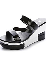 Women's Sandals PU Summer Wedge Heel Gold Black Silver 5in & over