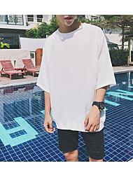 Herren Solide Muster Einfach Normal T-shirt,Rundhalsausschnitt Sommer Kurzarm Baumwolle