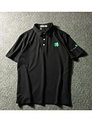 Tee-shirt Homme,Couleur Pleine Bureau/Carrière simple Manches Courtes Col de Chemise Coton