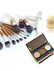 11pcs Bamboo Makeup Brush &3 Color Eyebrow Powder &Small Non-latex Gourd Shape Puff