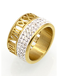 New Fashion 18K Roma Number Cubic Zirconia Personality Brand Design Titanium Steel  Rings For Women
