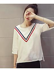 Damen Gestreift Einfach Alltag Normal T-shirt,Rundhalsausschnitt 3/4 Ärmel Baumwollmischung
