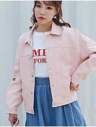 Feminino Jaqueta jeans Para Noite Fofo Primavera Outono,Sólido Curto Algodão Colarinho Chinês Manga Longa