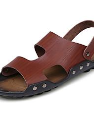 Men's Sandals Gladiator PU Spring Summer Casual Buckle Flat Heel Camel Brown Black White Flat
