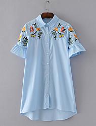 Women's Daily Simple Summer Shirt,Embroidery Shirt Collar Short Sleeve Polyester