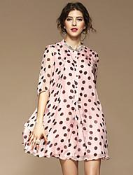Mujer Línea A Corte Ancho Corte Swing Vestido Noche Casual/Diario Simple Chic de Calle Sofisticado,Estampado Puntos Redondos Escote Chino