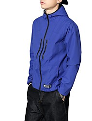 Men's Daily Casual Nature Inspired Spring/Fall Jacket,Solid Hooded Long Sleeve Regular Polyester Taffeta Oversized