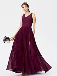 A-Line V-neck Floor Length Chiffon Bridesmaid Dress with Split Front Pleats by LAN TING BRIDE®
