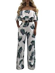 Для женщин Секси Винтаж Богемный На выход На каждый день Праздник Комбинезоны,С высокой талией Широкие Мода Оборки Открытая спинаС