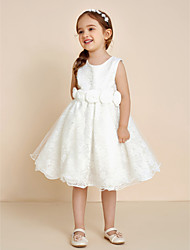 Ball Gown Knee-length Flower Girl Dress - Cotton Chiffon Lace Organza Satin Tulle Jewel with Bow(s) Draping Flower(s) Lace