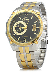 Men's Dress Watch Chinese Quartz Calendar Alloy Band Vintage Gold
