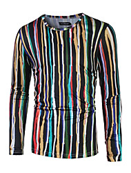 Men's Other Sports Active All Seasons T-shirt,Striped Round Neck Long Sleeve Cotton Polyester Medium