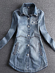 Women's Casual/Daily Simple Spring Denim Jacket,Letter Shirt Collar Long Sleeve Long Linen