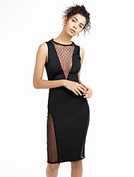 Women's Backless Formal / Party Sexy Bodycon Dress,Solid V Neck Mini Long Sleeve Red / Black Cotton / Spandex Spring / Fall Mid Rise