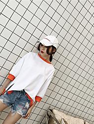 Damen Einfarbig Einfach Lässig/Alltäglich T-shirt,Rundhalsausschnitt ¾-Arm Baumwolle