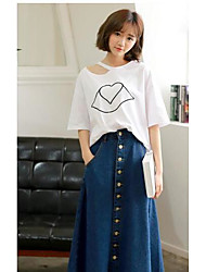 2017 spring and summer solid single-breasted waist was thin denim skirts big skirt A word skirt umbrella skirt