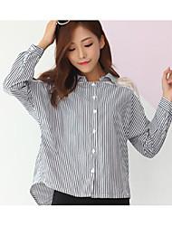 Mujer Simple Primavera Camisa,Escote Chino A Rayas Manga Larga Algodón