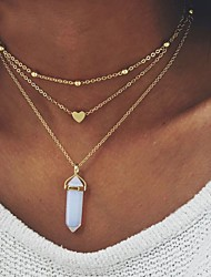 Fashion Bullet Crystal Rhombus Natural Stone Peach Heart Pendant Multilayer Choker Necklace For Women Vintage Alloy Chain Necklaces