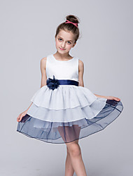 A-line Knee-length Flower Girl Dress - Chiffon Taffeta Crew Neck with Applique Sash / Ribbon Girls Summer chiffon pageant dresses