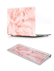 For MacBook Air 11 13 Pro Retina 13 15 Macbook 12 Case Cover PVC Material Oil Painting Pink Feather with US Silicone Keyboard Protector
