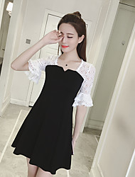 Women's Party/Evening Valentine's Day Cute A Line Dress,Solid Square Neck Above Knee Half-Sleeve Cotton Spring Summer High Rise