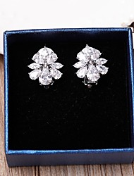 Clip Earrings AAA Cubic Zirconia Classic Wedding Jewelry Jewelry ForWedding Party Anniversary Birthday Gift