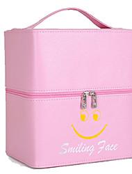 Women Cosmetic Bag PU All Seasons Square Zipper Fuchsia Blushing Pink Black