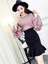 Mujer Simple Casual/Diario Verano T-Shirt Falda Trajes,Escote Redondo Un Color Manga 1/2 Microelástico