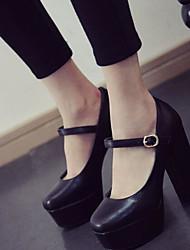 Women's Heels Basic Pump Comfort PU Summer Casual Basic Pump Comfort Brown Black 3in-3 3/4in