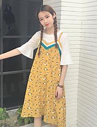 Для женщин На каждый день Лето Как у футболки Платья Костюмы Круглый вырез,просто С принтом 1/2 Length Sleeve Слабоэластичная