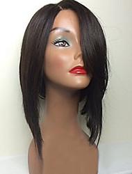 Mujer Pelucas de Cabello Natural Remy Encaje Frontal Frontal sin Pegamento 150% Densidad Liso Peluca Negro Corto Medio Entradas Naturales