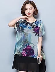 Damen Blumen Einfach Lässig/Alltäglich T-shirt,Rundhalsausschnitt Sommer Kurzarm Polyester