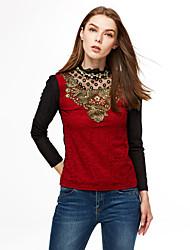 Feminino Blusa Casual / Tamanhos Grandes Simples Primavera / Outono / Inverno,Sólido Vermelho / Preto Poliéster Colarinho ChinêsManga