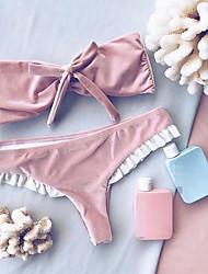 Da donna A fascia Bikini Tinta unita Solidi