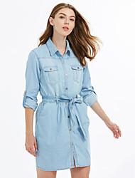 Women's Blue Cotton Dress , Casual Long Sleeve
