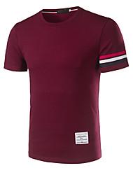 Для мужчин На выход На каждый день Футболка Рубашечный воротник,Простое Однотонный Полоски С короткими рукавами,Хлопок