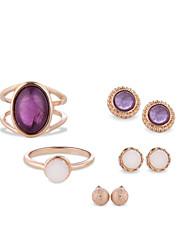 Sady šperků Jedinečný design Křišťál Růže pozlacená Circle Shape Pro Párty Narozeniny Denní Ležérní 1 set Svatební dary