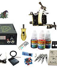 Begginer Tattoo Kit 1 Machine With Digital Power Cord Inks Switch G1C15A9