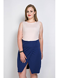 Really Love Women's Casual/Daily Party Club Sexy Vintage Simple Shift Sheath Dress,Color Block Patchwork V Neck Knee-length Above Knee Sleeveless