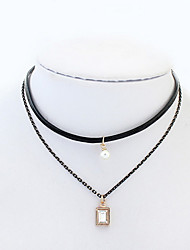Leather Euramerican Lady Party Pendant Layered Necklace Choker Necklaces Movie Jewelry