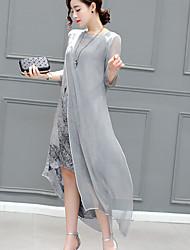 Ample Robe Femme Décontracté / Quotidien Vintage,Fleur Col Arrondi Midi Manches 3/4 Lin 90% Wool10% soie du mûrier Viscose EtéTaille