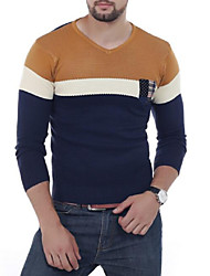 Для мужчин Повседневные Простое Короткий Пуловер Контрастных цветов,V-образный вырез Длинный рукав Смесь хлопка Весна Осень Средняя